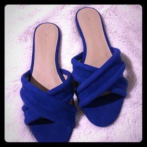 Suede slide sandal